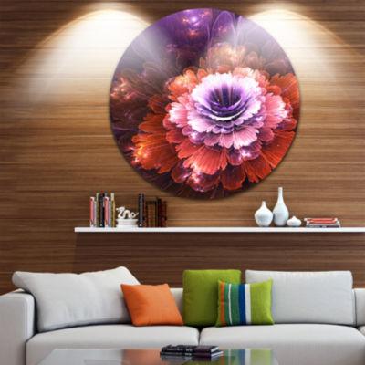 Design Art Abstract Pink Fractal Flower Floral Circle Metal Wall Art