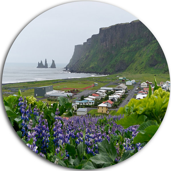Design Art Icelandic Town Vik Landscape Photography Circle Metal Wall Art