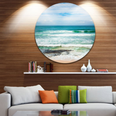 Design Art Indian Ocean Seascape Photography Circle Metal Wall Art