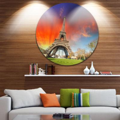 Design Art Paris Eiffel TowerUnder Colorful Sky Circle Metal Wall Art