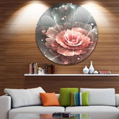 Design Art Abstract Fractal Pink Gray Flower Floral Circle Metal Wall Art