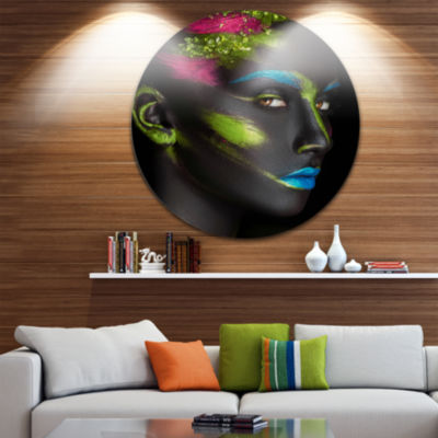 Design Art Dark Skinned Girl with Make up AbstractPortrait Circle Metal Wall Art