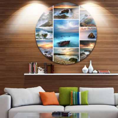 Design Art Sea and Shore Collage Seascape Photography Circle Metal Wall Art
