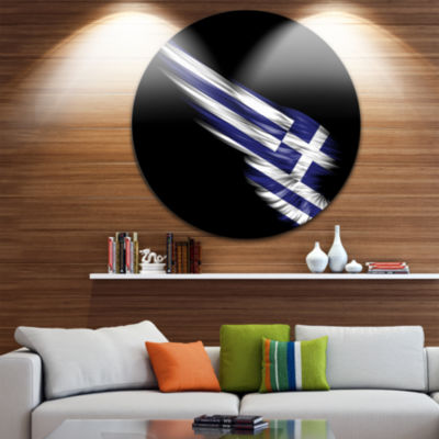 Design Art Wing with Greece Flag Large Contemporary Circle Metal Wall Arts