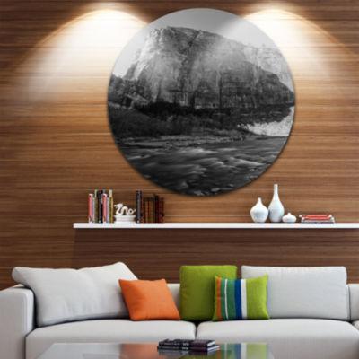 Design Art Glow of Morning Dark Landscape Photography Circle Metal Wall Art