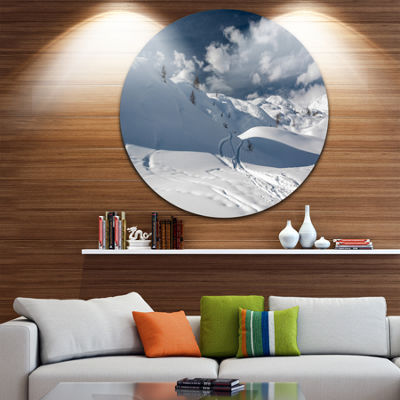 Design Art Ski Tracks on a Slope Landscape Photo Circle Metal Wall Art
