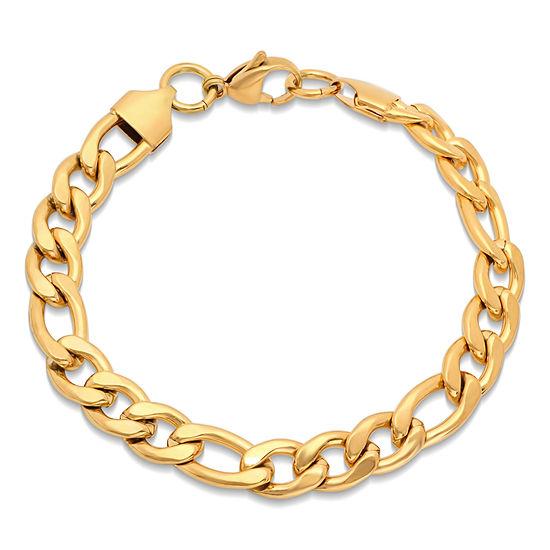 Steeltime 18K Gold Over Stainless Steel Solid Figaro Chain Bracelet