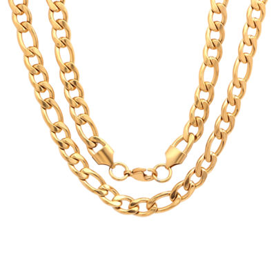 Steeltime 18K Gold Over Stainless Steel 24 Inch Solid Figaro Chain Necklace
