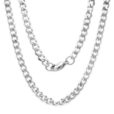 Steeltime Stainless Steel 24 Inch Solid Curb Chain Necklace