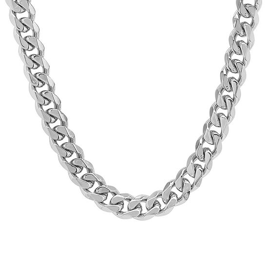 Steeltime Stainless Steel 24 Inch Semisolid Curb Chain Necklace