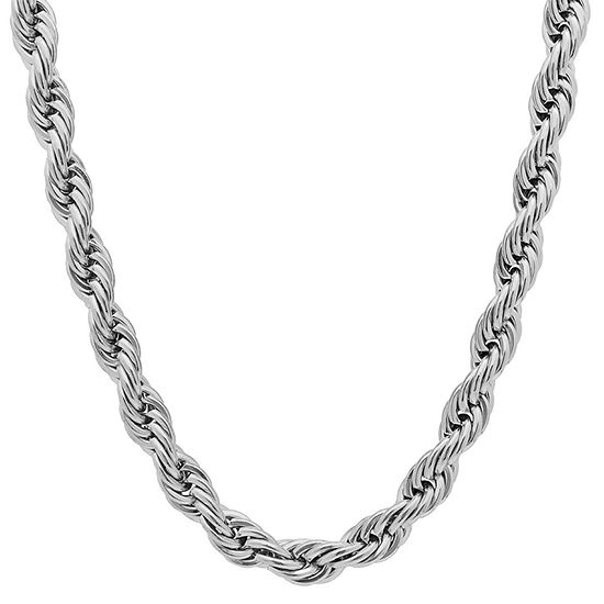 Steeltime Stainless Steel 30 Inch Solid Rope Chain Necklace