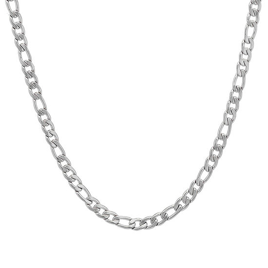 Steeltime Stainless Steel 24 Inch Semisolid Figaro Chain Necklace