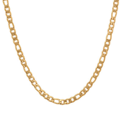 Steeltime 18K Gold Over Stainless Steel 24 Inch Semisolid Figaro Chain Necklace