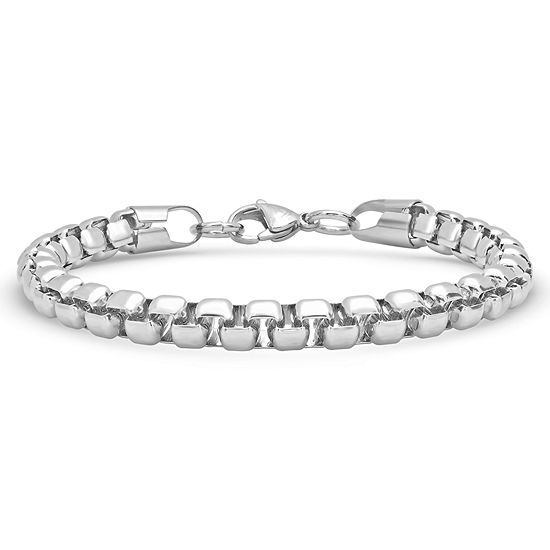 Steeltime Stainless Steel Solid Link Chain Bracelet