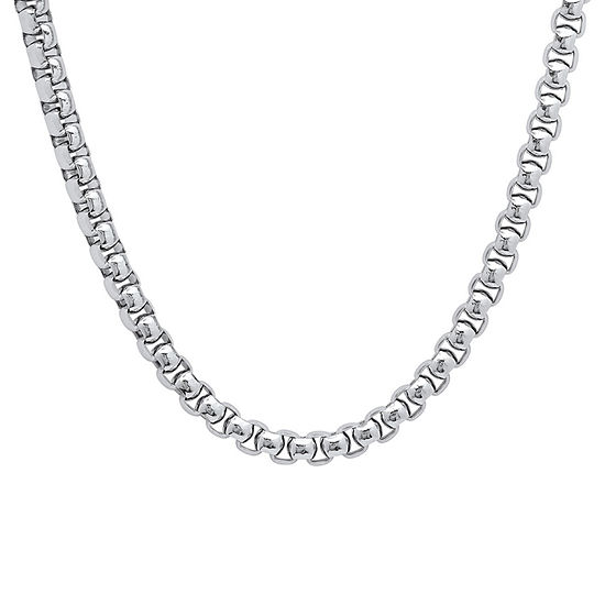 Steeltime Stainless Steel 24 Inch Solid Link Chain Necklace