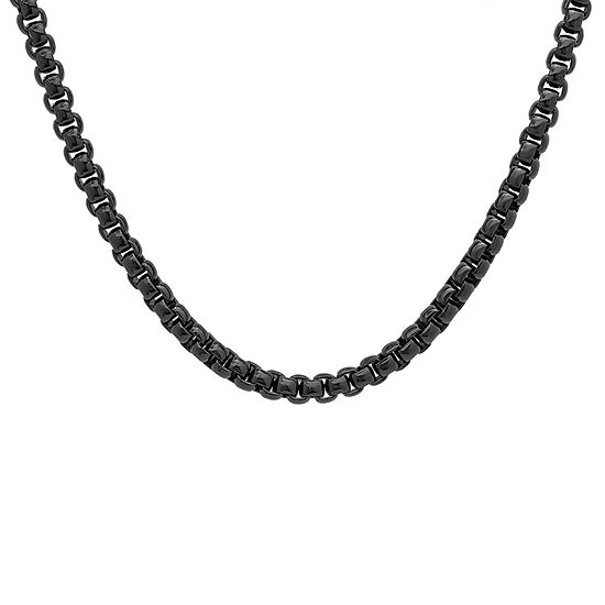 Steeltime Black Ion Plated Stainless Steel 24 Inch Solid Link Chain Necklace
