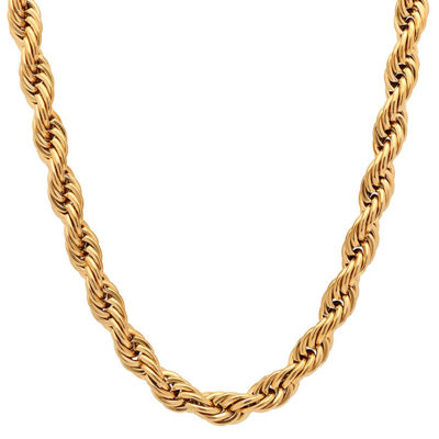 Steeltime 18K Gold Over Stainless Steel Solid Rope 30 Inch Chain Necklace