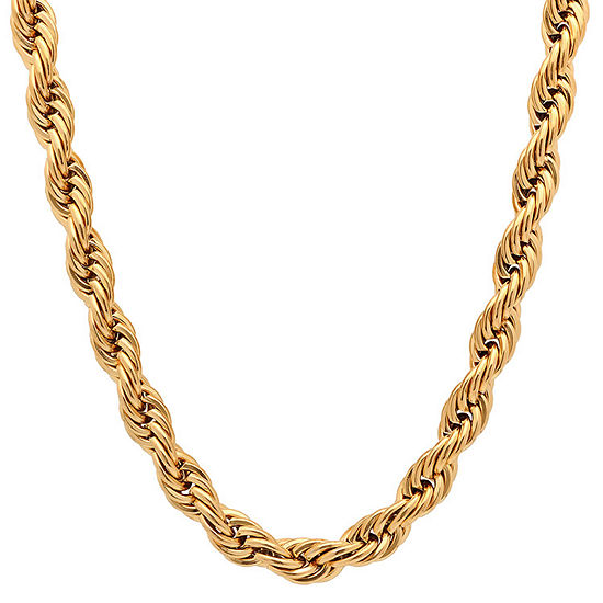 Steeltime 18K Gold Over Stainless Steel 30 Inch Solid Rope Chain Necklace