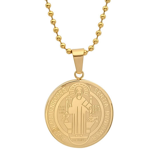 Steeltime St. Benedict Mens 18K Gold Over Stainless Steel Pendant Necklace