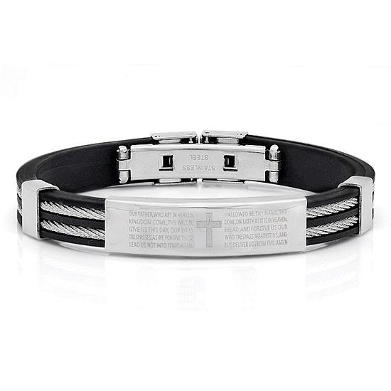 Steeltime Lord'S Prayer Stainless Steel Id Bracelet