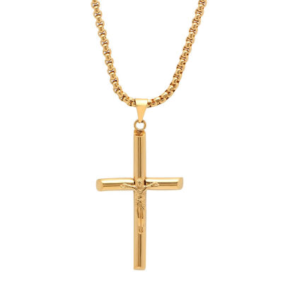 Steeltime Mens 18K Gold over Stainless Steel Cruifix Cross Pendant Necklace