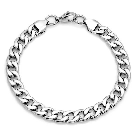 Steeltime Stainless Steel Solid Curb Chain Bracelet