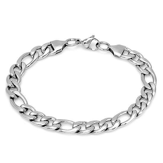 Steeltime Stainless Steel Solid Figaro Chain Bracelet