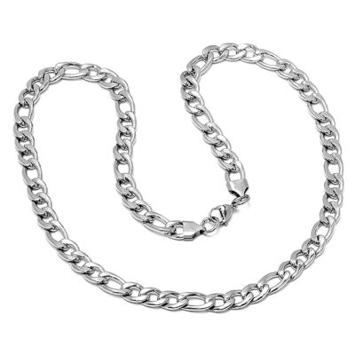 Steeltime Stainless Steel 24 Inch Solid Figaro Chain Necklace