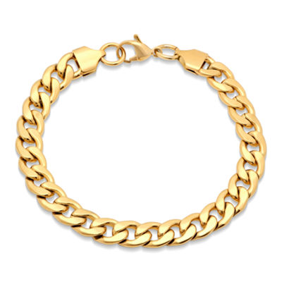 Steeltime 18K Gold Over Stainless Steel Solid Curb Chain Bracelet