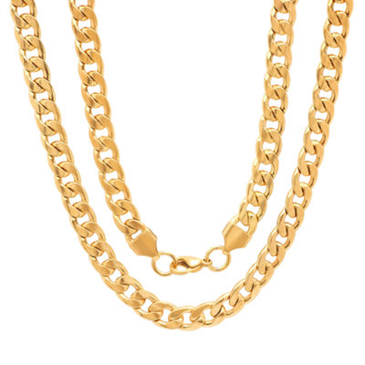 Steeltime 18K Gold Over Stainless Steel 24 Inch Solid Curb Chain Necklace