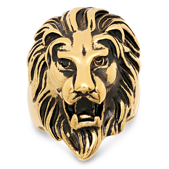 Steeltime Lion Mens 18K Gold Over Stainless Steel Fashion Ring