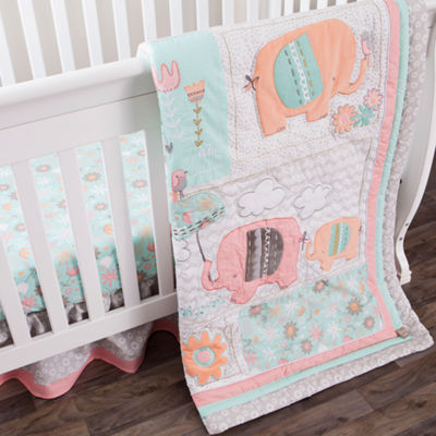 Playful Elephants 3-pc. Crib Bedding
