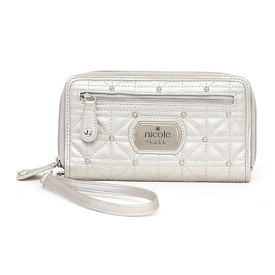Nicole By Nicole Miller Cara Triple-Zip Studded Zip Around Wallet