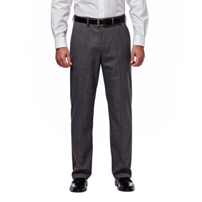 J.M. Haggar Premium Stretch Sharkskin Classic Fit Flat Front Dark Heather Gray Suit Pant