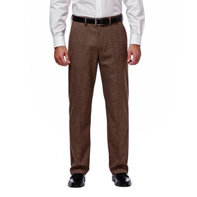 J.M. Haggar Premium Stretch Sharkskin Classic Fit Flat Front Chocolate Suit Pant