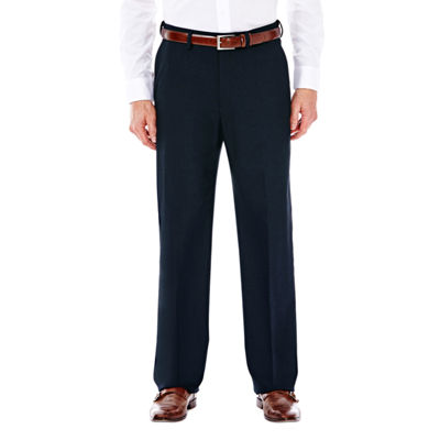 J.M. Haggar Premium Stretch Sharkskin Classic Fit Flat Front Dark Navy Suit Pant