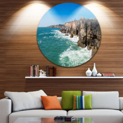 Design Art Coastline of Cascais Seascape Photography Circle Metal Wall Art