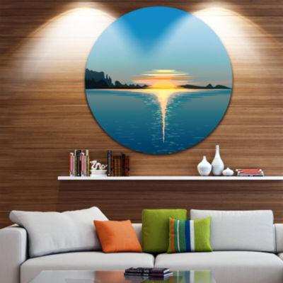 Design Art Sea Sinking Sun Seascape Circle Metal Wall Art