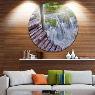 Design Art Waterfall in Plitvice Lakes Circle Metal Wall Art
