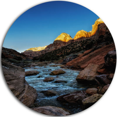 Design Art Rapid Virgin River Landscape Photography Circle Metal Wall Art