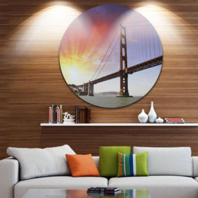 Design Art Gold Gate Bridge and Sky Circle Metal Wall Art