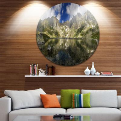Design Art Mountain Lake with Reflection LandscapePhoto Circle Metal Wall Art