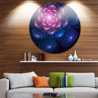 Design Art Fractal Flower Pink and Blue Floral Circle Metal Wall Art