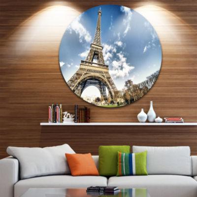 Design Art Eiffel Under Dark Cloudy Sky Circle Metal Wall Art