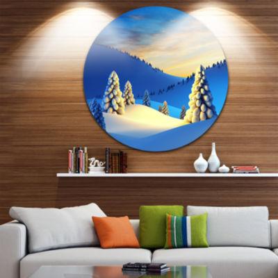 Design Art Winter Mountains with Fir Trees Landscape Photography Circle Metal Wall Art