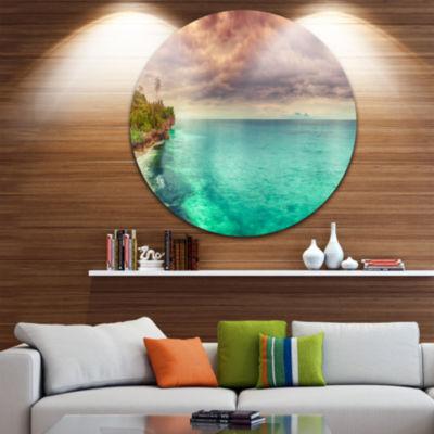 Design Art Green Sunset Panorama View Circle MetalWall Art