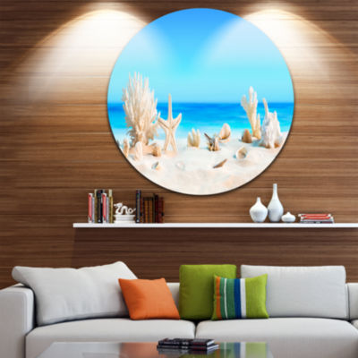 Design Art Seashells on Tropical Beach Seashore Photo Circle Metal Wall Art