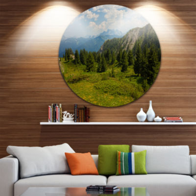 Design Art Amazing Visitor Mountains Landscape Photo Circle Metal Wall Art