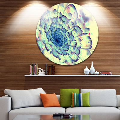 Design Art Blue Fractal Flower with Red Details Large Contemporary Circle Metal Wall Arts