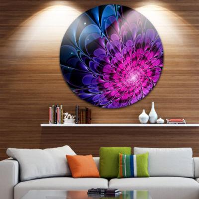 Design Art Fractal Purple Rose Flower Floral Circle Metal Wall Art